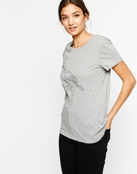 Paisie T Shirt With Bird Embroidery Grey