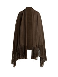 Denis Colomb Fringed Cashmere Shawl Khaki