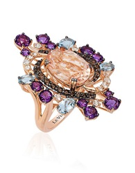 Levian Crazy Semi Precious Multi Stone And 14K Strawberry Gold Cocktail Ring Multi Colored