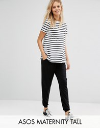 Asos Maternity Tall Jersey Peg Trouser With Draw Cord Waist Black