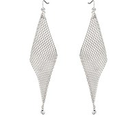 Jules Smith Designs Crystal Embellished Mesh Wave Earrings Silver