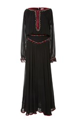 Talitha Tribal Embroidered Long Rosa Dress Black