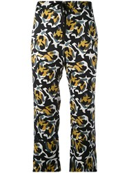L'autre Chose Abstract Print Cropped Trousers Women Silk 44 Black
