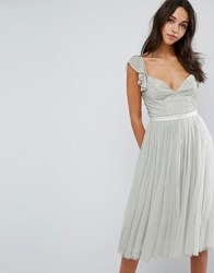 Needle And Thread Swan Tulle Midi Dress With Frill Sleeve Spearmint Green