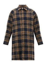 Hope Solid Single Breasted Checked Wool Blend Coat Yellow Multi