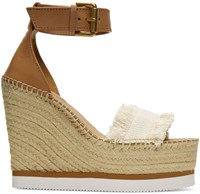 See By Chloe Beige Espadrille Wedge Sandals