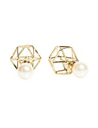Pixie Market Geometric Pearl Back Stud Earrings