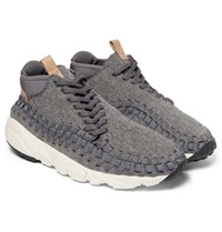 Nike Air Footscape Felt Leather And Woven Mesh Sneakers Gray