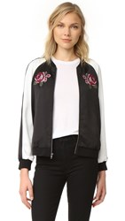 Cupcakes And Cashmere Daffodil Satin Embroidered Bomber Black