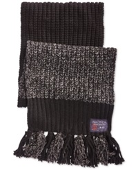 Nautica Color Blocked Marled Fringed Scarf Black Granite Heather