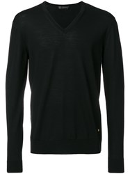 Versace V Neck Slim Fit Jumper Wool Black