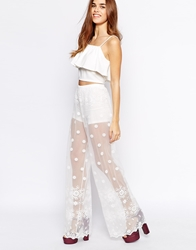 Glamorous Embroidered Lace Wide Leg Trouser White