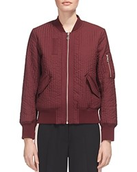 Whistles Quilted Bomber Jacket Burgundy