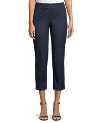 Piazza Sempione Audrey Slim Straight Leg Denim Capri Pants Navy