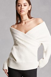 Forever 21 Wool Blend Surplice Sweater Ivory