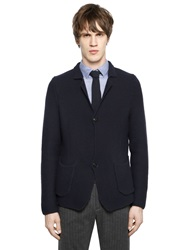 Emporio Armani Wool And Cotton Knit Jacket Navy