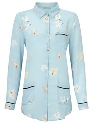 Marella Pacchia Printed Silk Shirt Light Blue