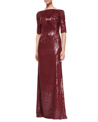 Jenny Packham Allover Sequin And Bead Embellished Gown