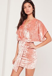 Missguided Velvet Kimono Sleeve Wrap Dress Pink