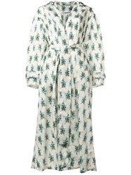 Emilia Wickstead Rose Print Robe Coat Neutrals