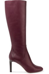 Jimmy Choo Tempe 85 Leather Knee Boots Burgundy
