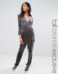 One Day Tall Allover Velvet Wrap Front Jumpsuit Charcoal Grey
