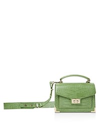 The Kooples Emily Croc Embossed Leather Mini Crossbody Pistachio