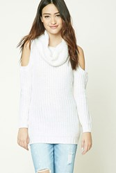 Forever 21 Cowl Neck Open Shoulder Sweater White