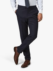 Jaeger Wool Pinstripe Regular Fit Suit Trousers Navy