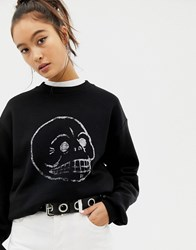Cheap Monday Faded Skull Sweatshirt With Organic Cotton Black