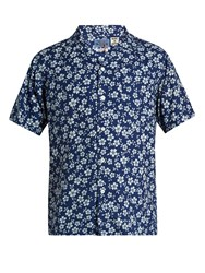 Blue Blue Japan Floral Print Short Sleeved Cotton Shirt Blue Multi