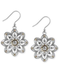 Lucky Brand Two Tone Openwork Floral Drop Earrings Silver Gold
