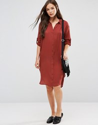 B.Young 3 4 Sleeve Shirt Dress Burnt Terracotta Brown