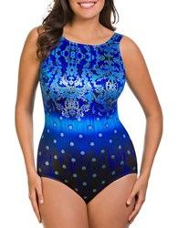 Longitude Floral Printed One Piece Blue