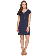Kensie Drapey French Terry Dress Ks0k960s Heather Navy Combo Women's Dress