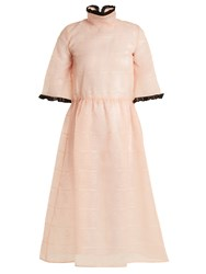 Shrimps Lancelot Doodle Embroidered Organza Dress Light Pink