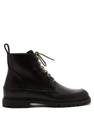 Bottega Veneta Intrecciato Weave Lace Up Leather Boots Black