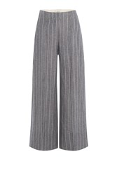 By Malene Birger Pinstriped Culottes With Linen Grey