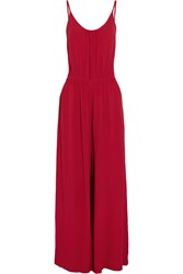 Vix Swimwear Kate Ruched Crepe Jumpsuit Red