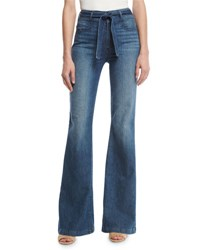 Paige Chandler Belted High Rise Flare Leg Jeans Indigo