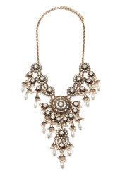 Forever 21 Faux Pearl Rhinestone Statement Necklace Antic Gold Cream