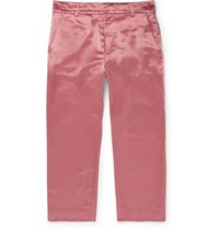 Sies Marjan Alex Cropped Washed Satin Trousers Pink