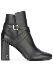 Saint Laurent Babies 90 Cross Strap Ankle Boots Black