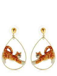 Nach Ginger Stretching Cat Earrings