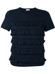 Red Valentino Frill Panel T Shirt Women Cotton S Blue