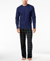 Club Room Men's Blackwatch Faux Fleece Pajama Set Only At Macy's