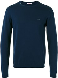 Sun 68 Crew Neck Jumper Men Cotton Xl Blue