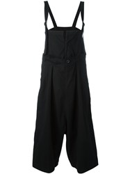 Y's Front Slit Drop Crotch Jumpsuit Women Cotton 2 Black