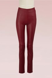 Maison Ullens Leather Stretch Pant Red Velvet