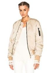Unravel Distress Nylon Bomber In Neutrals
